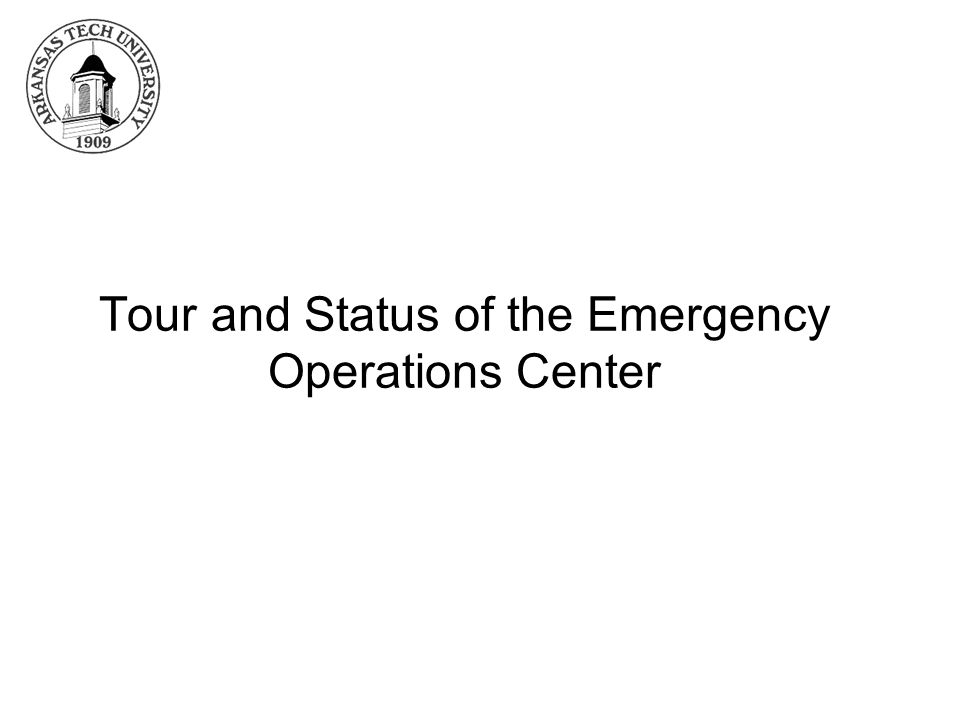 Tour and Status of the Emergency Operations Center