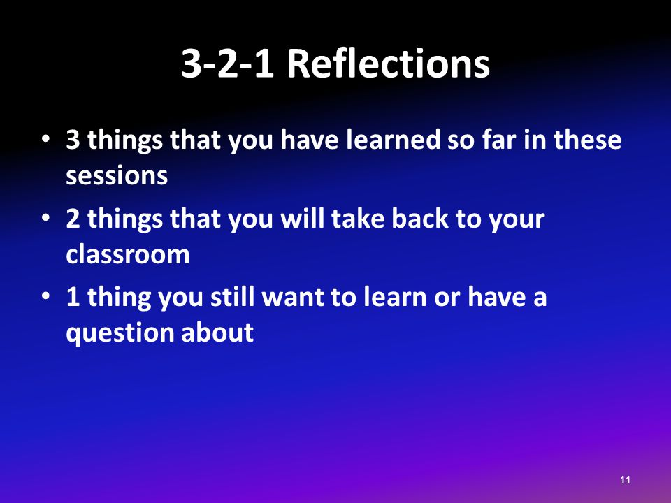3-2-1 Reflections 3 things that you have learned so far in these sessions 2 things that you will take back to your classroom 1 thing you still want to