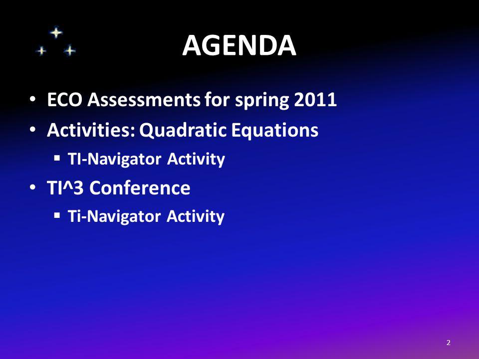 AGENDA ECO Assessments for spring 2011 Activities: Quadratic Equations  TI-Navigator Activity TI^3 Conference  Ti-Navigator Activity 2