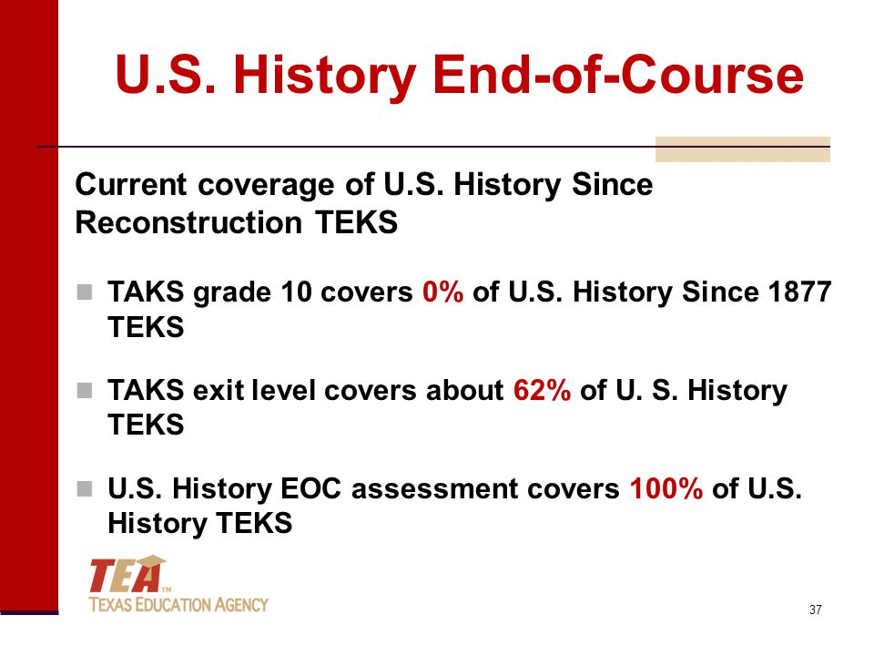 U.S. History End-of-Course Current coverage of U.S.