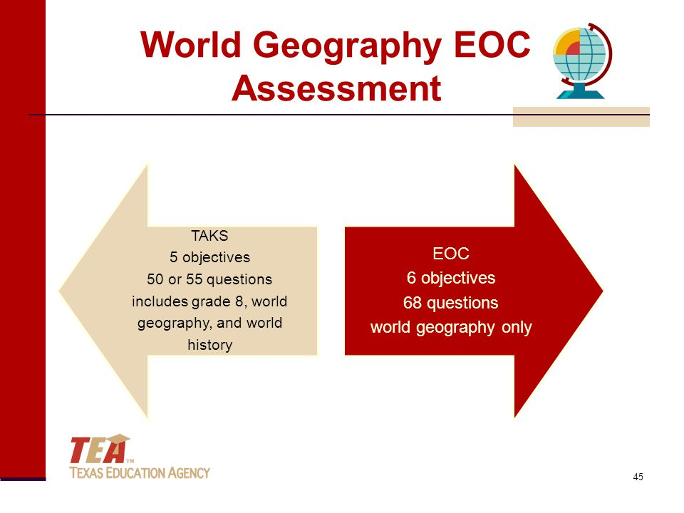World Geography EOC Assessment TAKS 5 objectives 50 or 55 questions includes grade 8, world geography, and world history EOC 6 objectives 68 questions