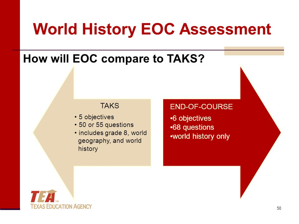 How will EOC compare to TAKS? TAKS 5 objectives 50 or 55 questions includes grade 8, world geography, and world history END-OF-COURSE 6 objectives 68