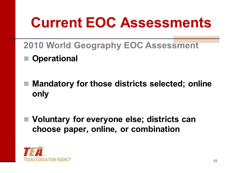 Current EOC Assessments Operational Mandatory for those districts selected; online only Voluntary for everyone else; districts can choose paper, onlin