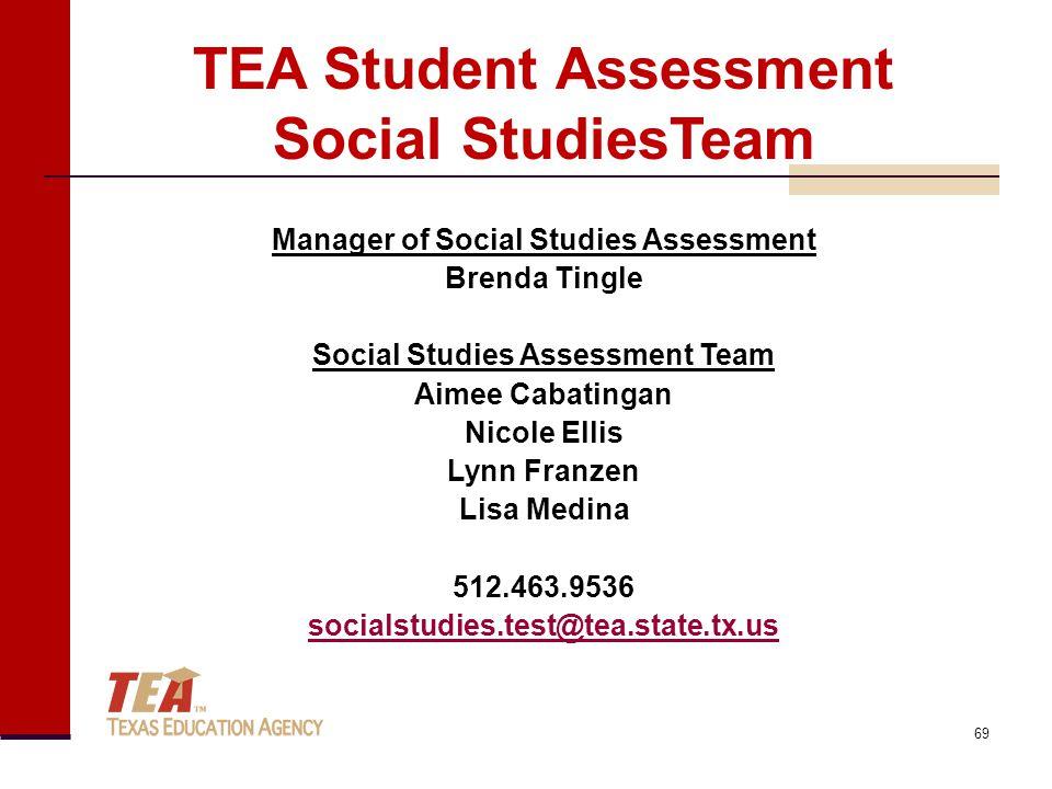 Manager of Social Studies Assessment Brenda Tingle Social Studies Assessment Team Aimee Cabatingan Nicole Ellis Lynn Franzen Lisa Medina 512.463.9536