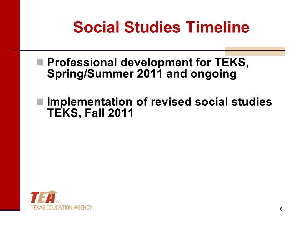 Social Studies Timeline Professional development for TEKS, Spring/Summer 2011 and ongoing Implementation of revised social studies TEKS, Fall 2011 8