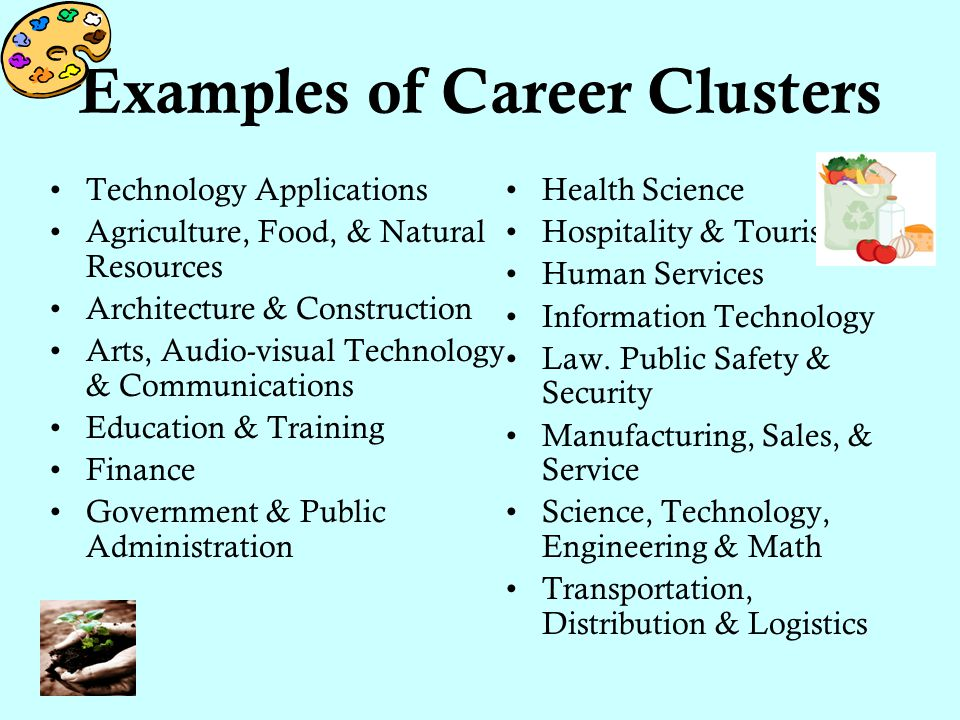 Examples of Career Clusters Technology Applications Agriculture, Food, & Natural Resources Architecture & Construction Arts, Audio-visual Technology & Communications Education & Training Finance Government & Public Administration Health Science Hospitality & Tourism Human Services Information Technology Law.