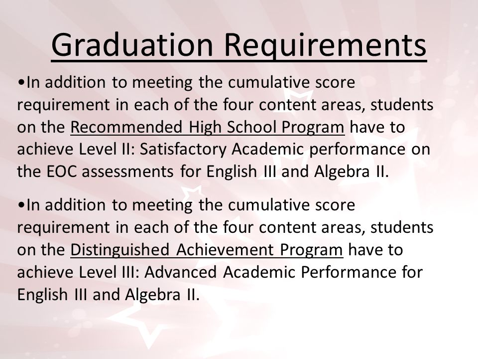 Graduation Requirements In addition to meeting the cumulative score requirement in each of the four content areas, students on the Recommended High School Program have to achieve Level II: Satisfactory Academic performance on the EOC assessments for English III and Algebra II.