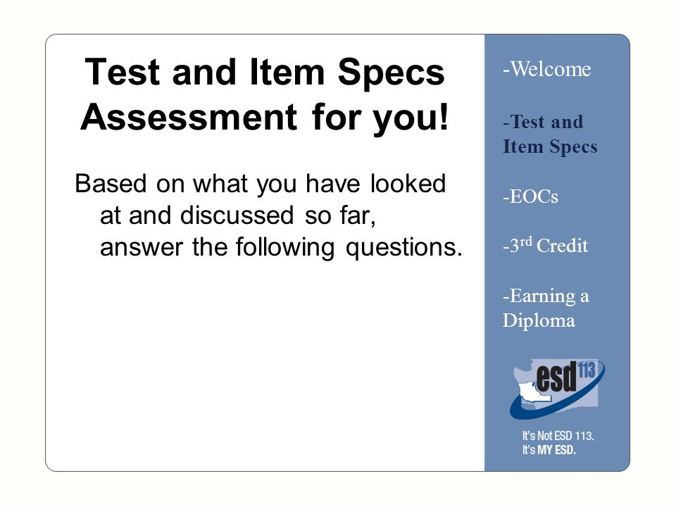 Test and Item Specs Assessment for you.