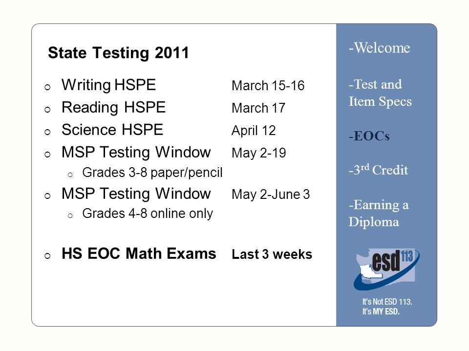 State Testing 2011  Writing HSPE March 15-16  Reading HSPE March 17  Science HSPE April 12  MSP Testing Window May 2-19  Grades 3-8 paper/pencil  MSP Testing Window May 2-June 3  Grades 4-8 online only  HS EOC Math Exams Last 3 weeks -Welcome -Test and Item Specs -EOCs -3 rd Credit -Earning a Diploma