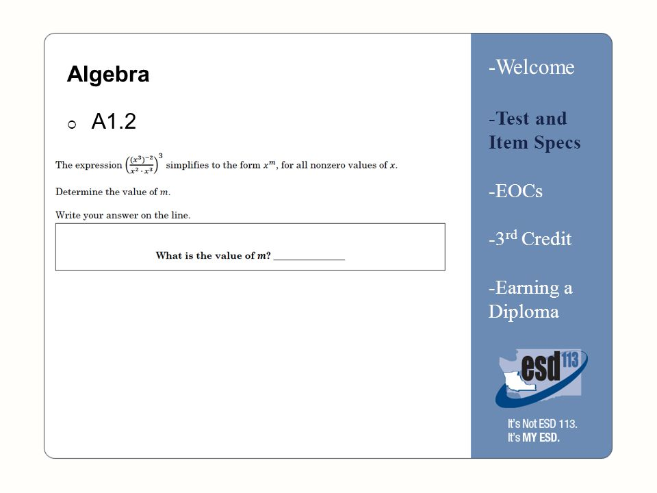 Algebra  A1.2 -Welcome -Test and Item Specs -EOCs -3 rd Credit -Earning a Diploma