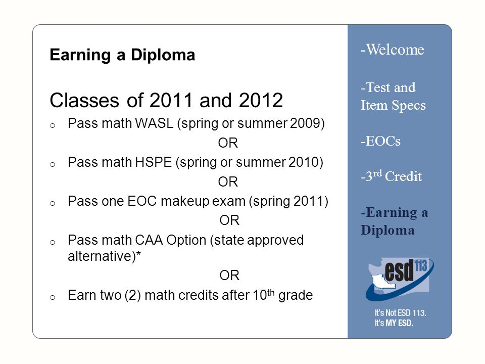 Earning a Diploma Classes of 2011 and 2012  Pass math WASL (spring or summer 2009) OR  Pass math HSPE (spring or summer 2010) OR  Pass one EOC makeup exam (spring 2011) OR  Pass math CAA Option (state approved alternative)* OR  Earn two (2) math credits after 10 th grade -Welcome -Test and Item Specs -EOCs -3 rd Credit -Earning a Diploma