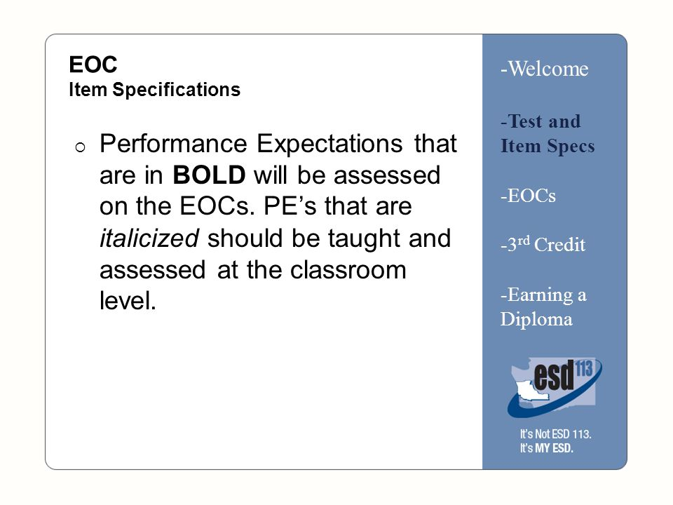 3 rd Math Credit -Welcome -Test and Item Specs -EOCs -3 rd Credit -Earning a Diploma Look at the SBE Math Credit Rule handout Talk with your neighbor about anything that stands out, new questions that you have.