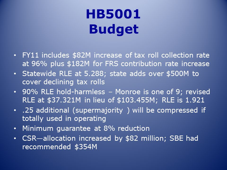 HB5001 Budget FY11 includes $82M increase of tax roll collection rate at 96% plus $182M for FRS contribution rate increase Statewide RLE at 5.288; sta