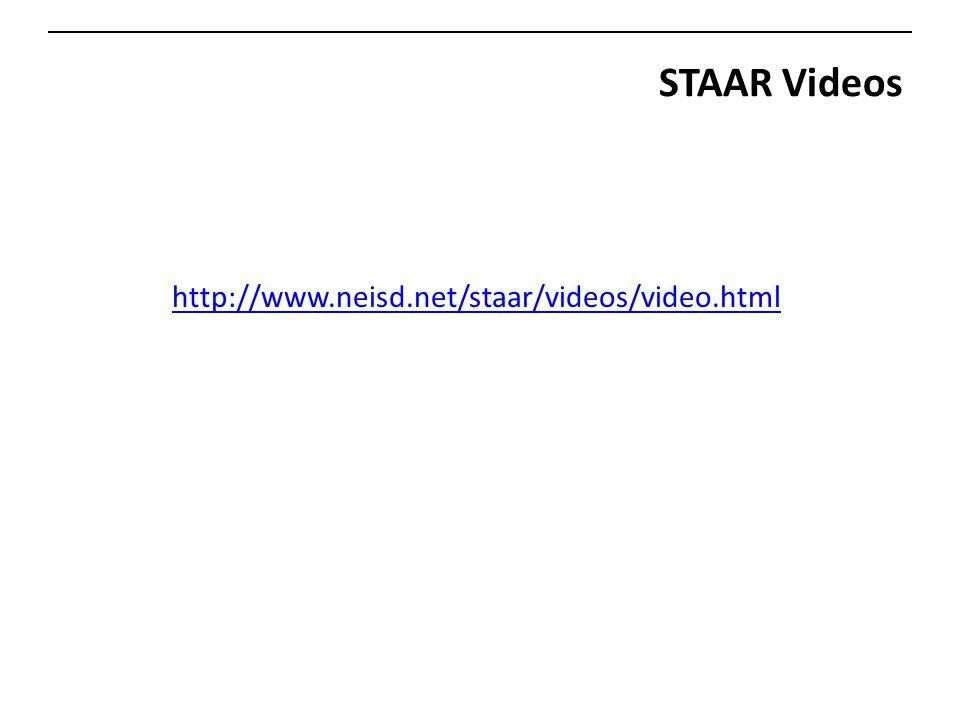 STAAR Videos http://www.neisd.net/staar/videos/video.html