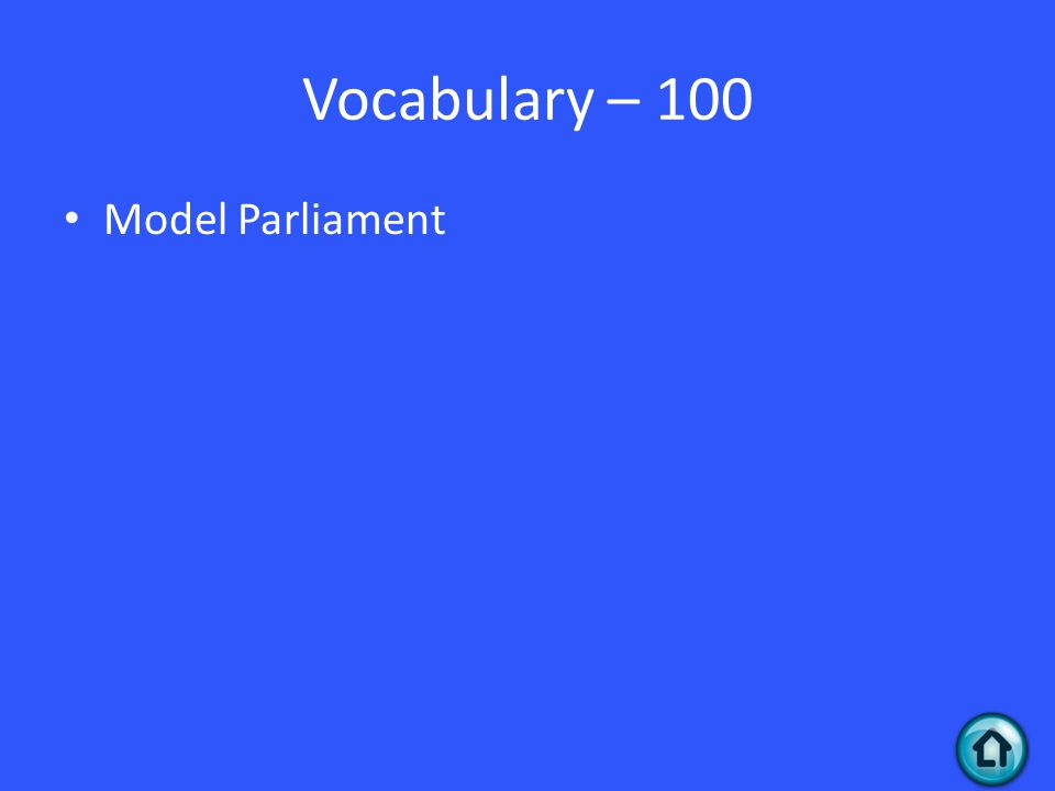 Vocabulary – 100 Model Parliament