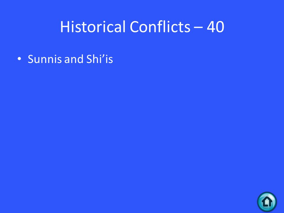 Historical Conflicts – 40 Sunnis and Shi'is