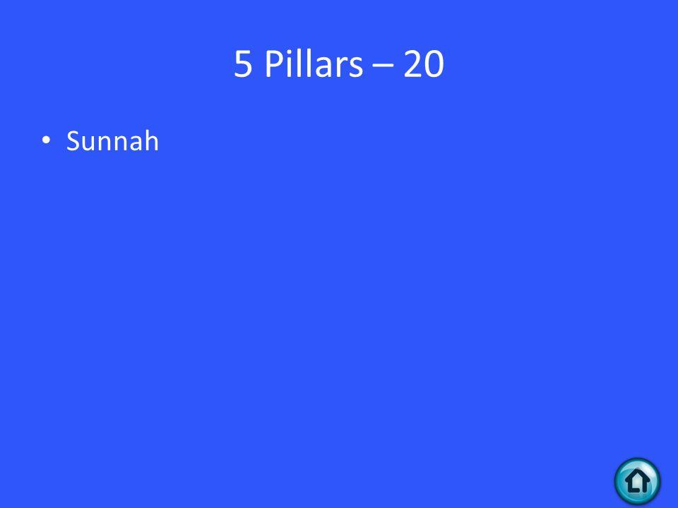 5 Pillars – 20 Sunnah