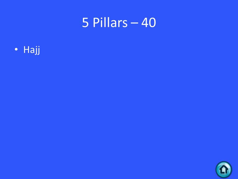 5 Pillars – 40 Hajj