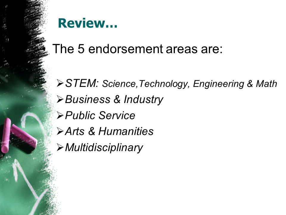 Review… The 5 endorsement areas are:  STEM: Science,Technology, Engineering & Math  Business & Industry  Public Service  Arts & Humanities  Multidisciplinary