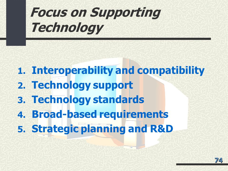 Focus on Supporting Technology 1.Interoperability and compatibility 2.