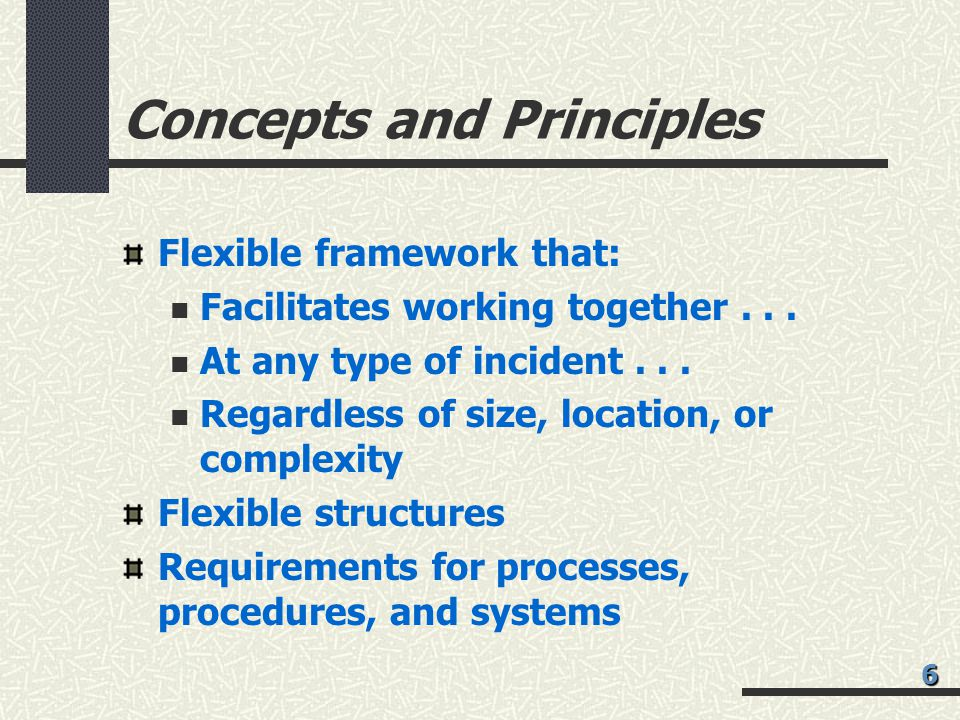 Concepts and Principles Flexible framework that: Facilitates working together...