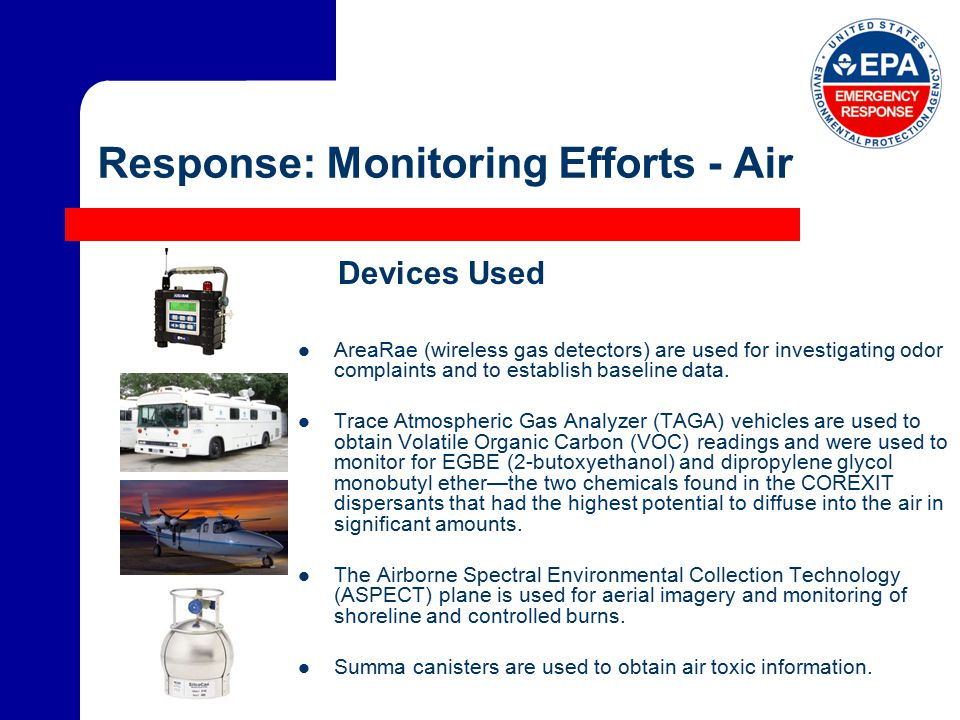 Response: Monitoring Efforts - Air AreaRae (wireless gas detectors) are used for investigating odor complaints and to establish baseline data.