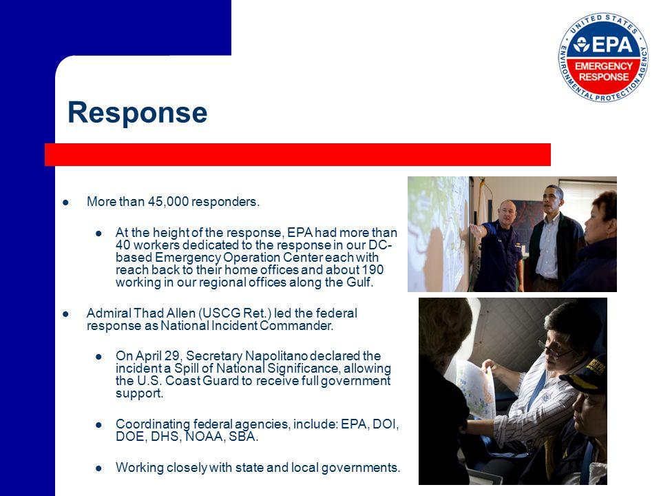 Response More than 45,000 responders.