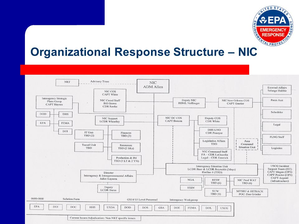 Organizational Response Structure – NIC