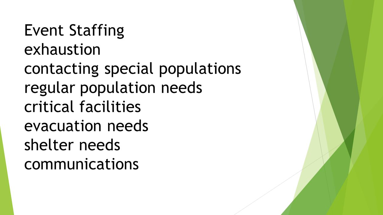 Event Staffing exhaustion contacting special populations regular population needs critical facilities evacuation needs shelter needs communications