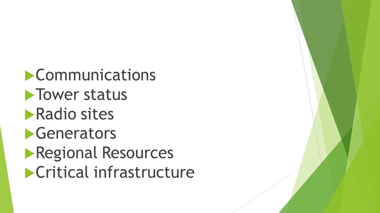  Communications  Tower status  Radio sites  Generators  Regional Resources  Critical infrastructure
