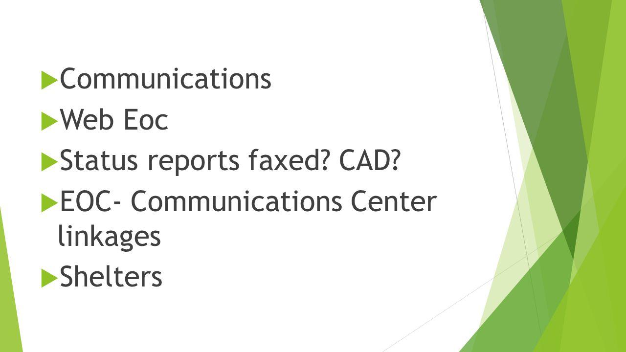  Communications  Web Eoc  Status reports faxed.