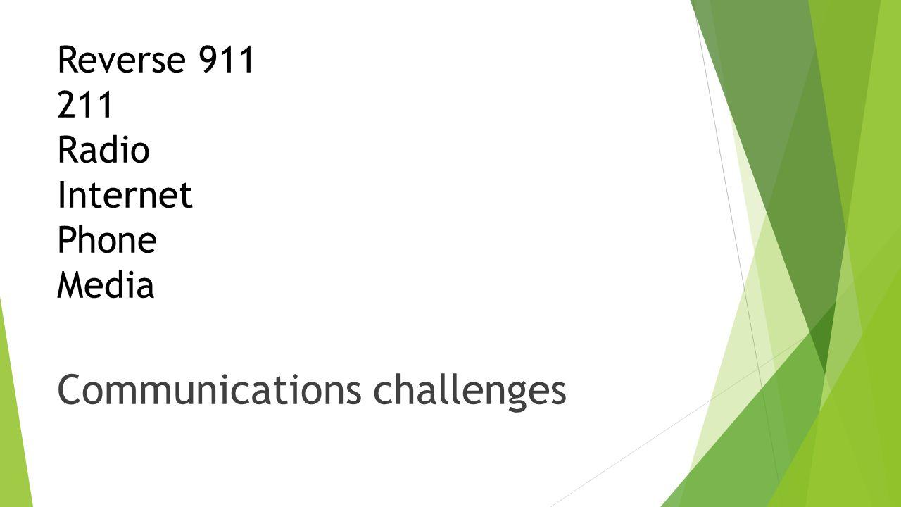 Reverse 911 211 Radio Internet Phone Media Communications challenges
