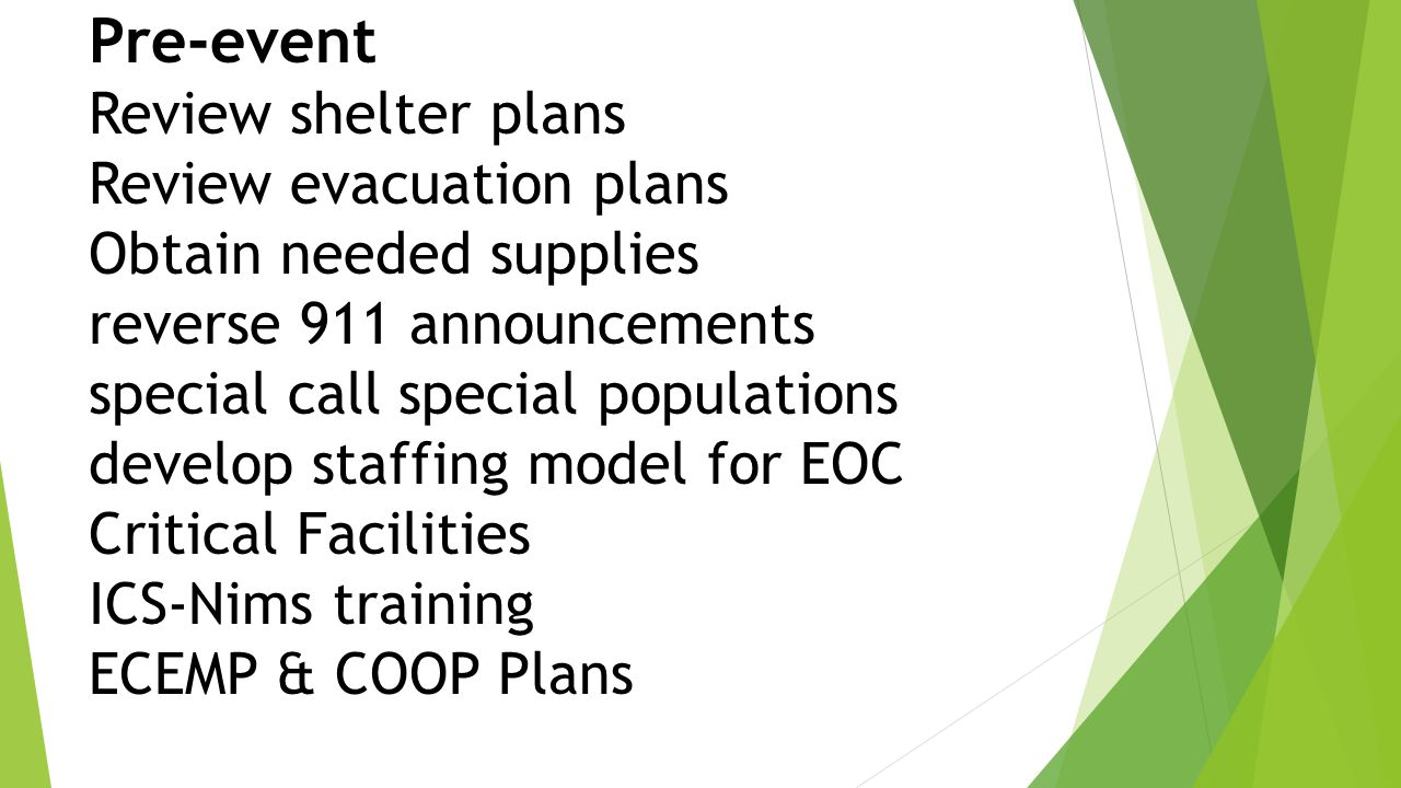 Pre-event Review shelter plans Review evacuation plans Obtain needed supplies reverse 911 announcements special call special populations develop staffing model for EOC Critical Facilities ICS-Nims training ECEMP & COOP Plans