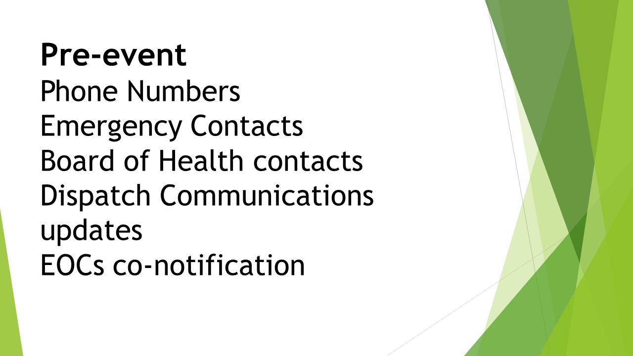 Pre-event Phone Numbers Emergency Contacts Board of Health contacts Dispatch Communications updates EOCs co-notification