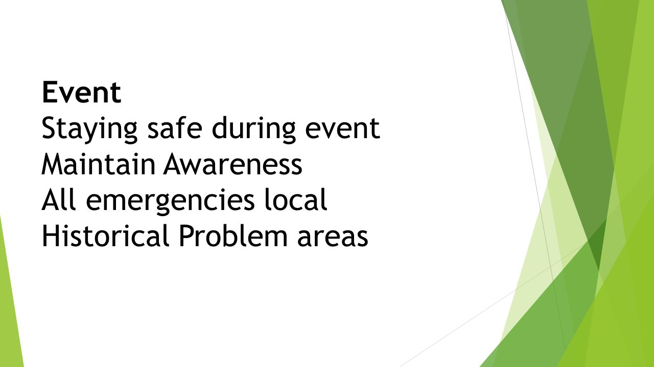 Event Staying safe during event Maintain Awareness All emergencies local Historical Problem areas