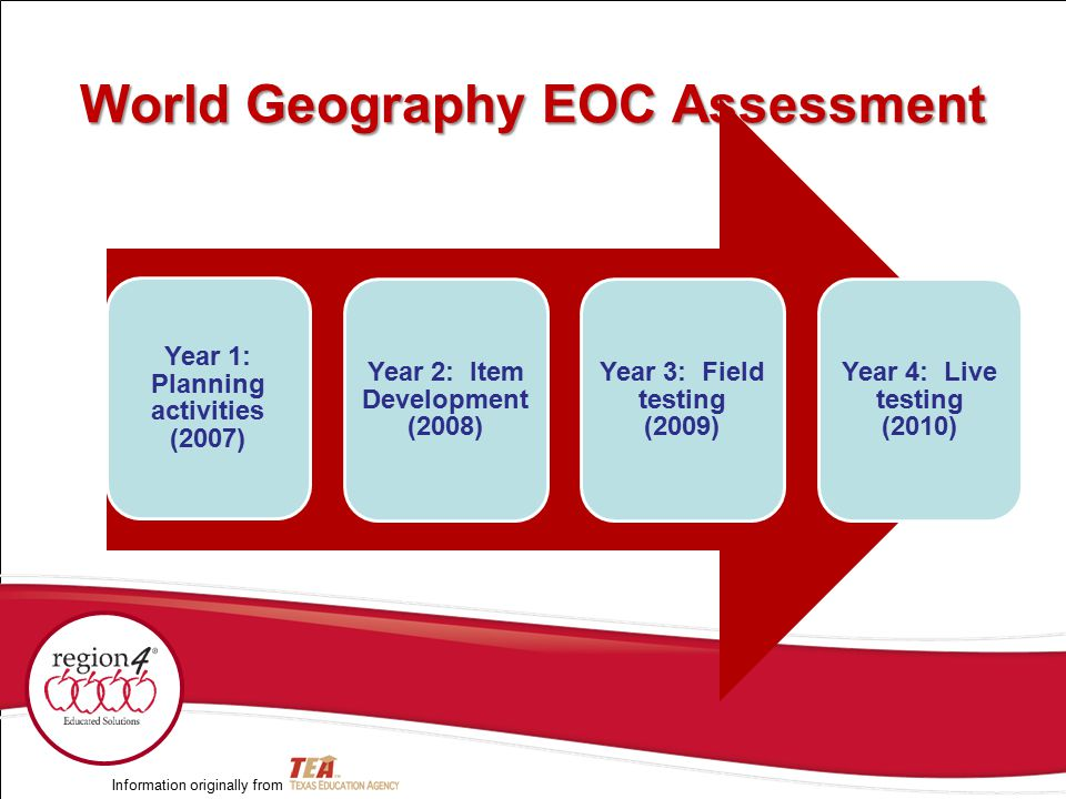 World Geography EOC Assessment Year 1: Planning activities (2007) Year 2: Item Development (2008) Year 3: Field testing (2009) Year 4: Live testing (2010) Information originally from