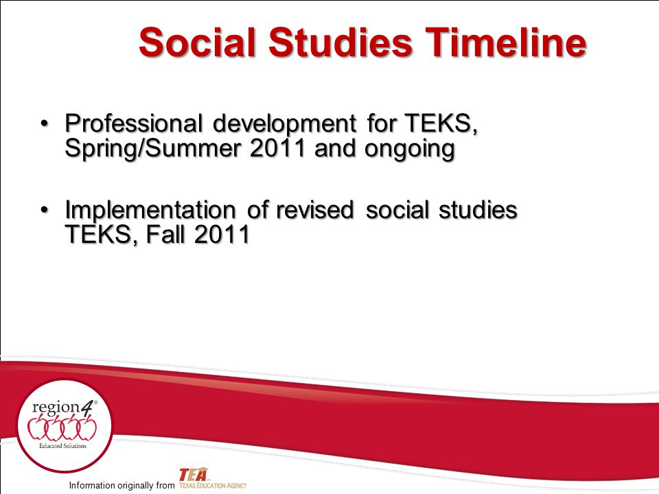 Professional development for TEKS, Spring/Summer 2011 and ongoingProfessional development for TEKS, Spring/Summer 2011 and ongoing Implementation of r
