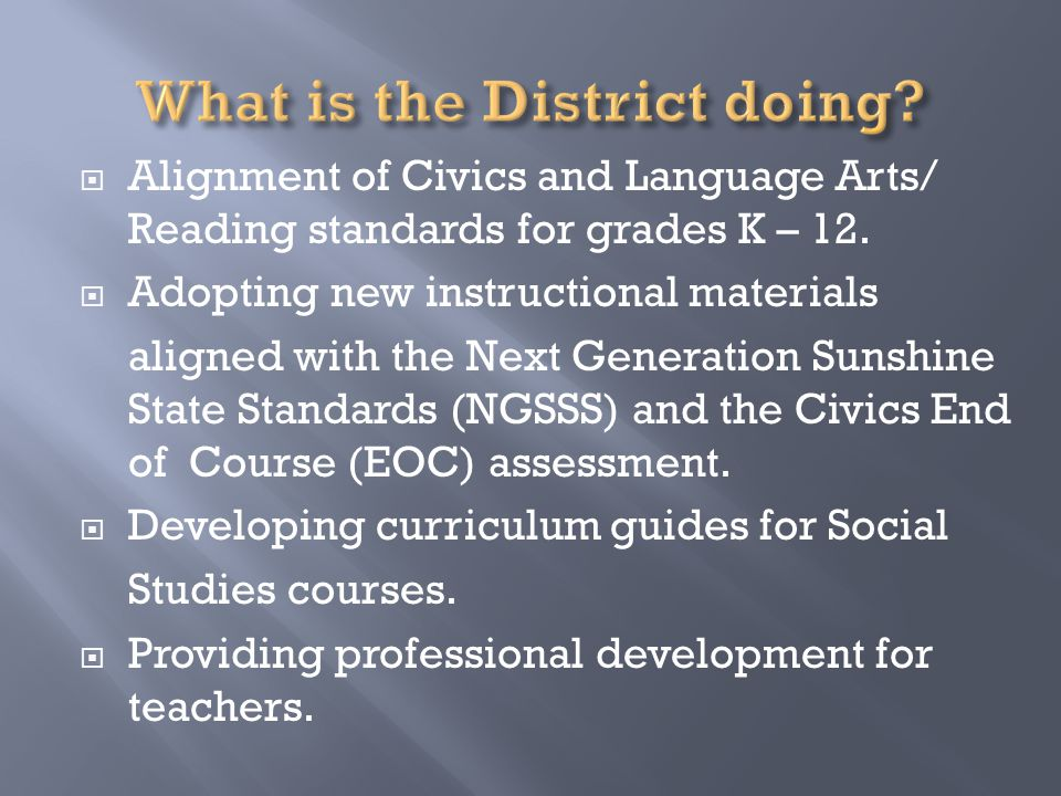  Alignment of Civics and Language Arts/ Reading standards for grades K – 12.