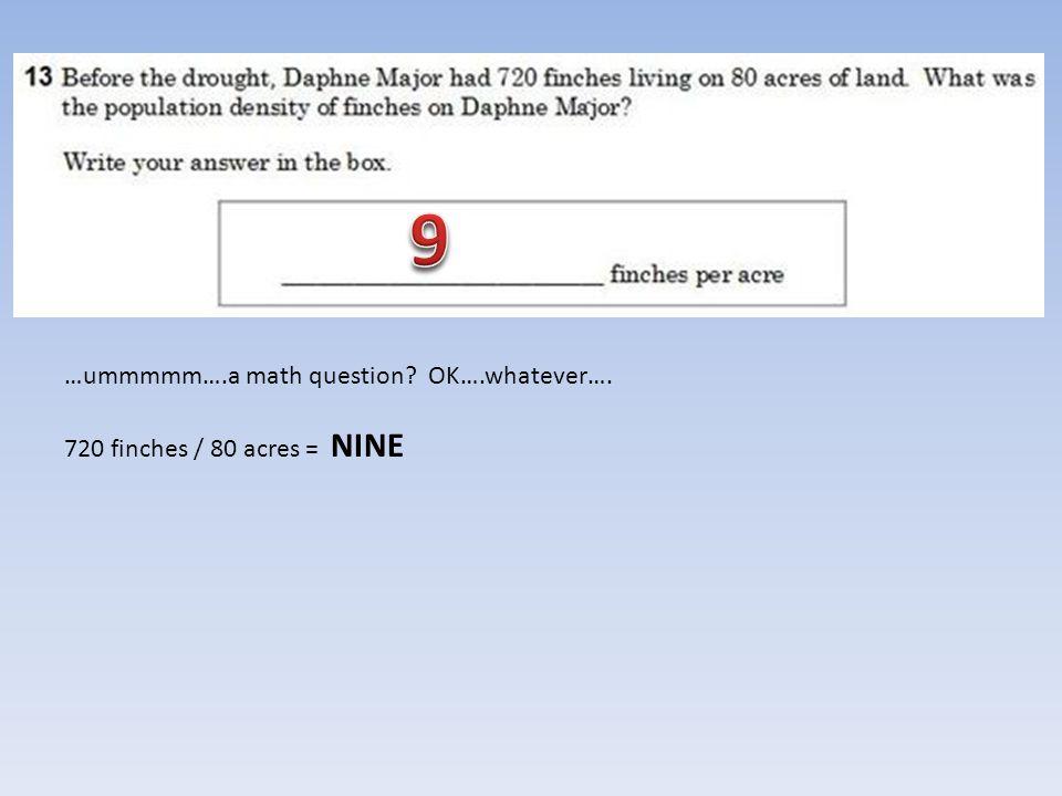 …ummmmm….a math question? OK….whatever…. 720 finches / 80 acres = NINE