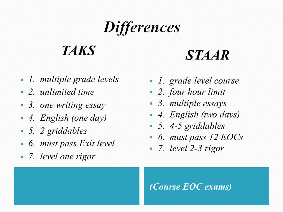 (Course EOC exams) TAKS  1. multiple grade levels  2. unlimited time  3. one writing essay  4. English (one day)  5. 2 griddables  6. must pass