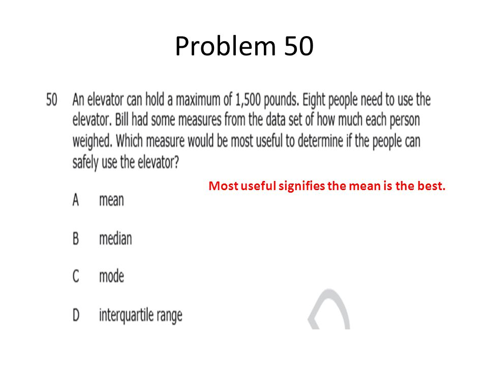 Problem 50 Most useful signifies the mean is the best.