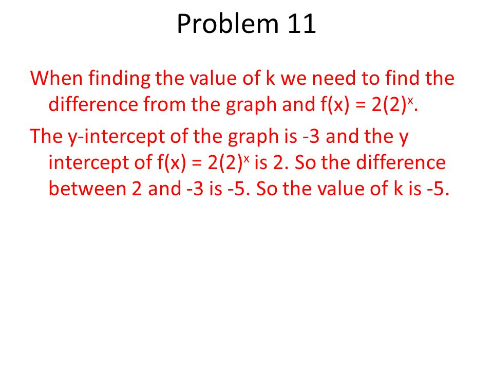 When finding the value of k we need to find the difference from the graph and f(x) = 2(2) x.