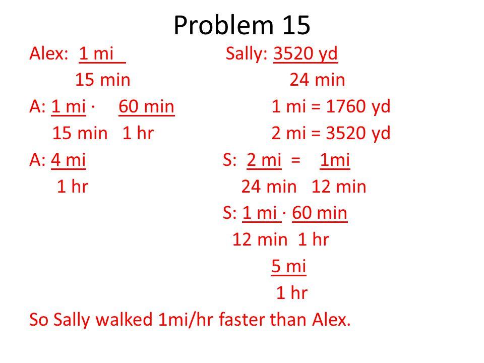 Alex: 1 mi Sally: 3520 yd 15 min 24 min A: 1 mi ∙ 60 min1 mi = 1760 yd 15 min 1 hr2 mi = 3520 yd A: 4 miS: 2 mi = 1mi 1 hr 24 min 12 min S: 1 mi ∙ 60 min 12 min 1 hr 5 mi 1 hr So Sally walked 1mi/hr faster than Alex.