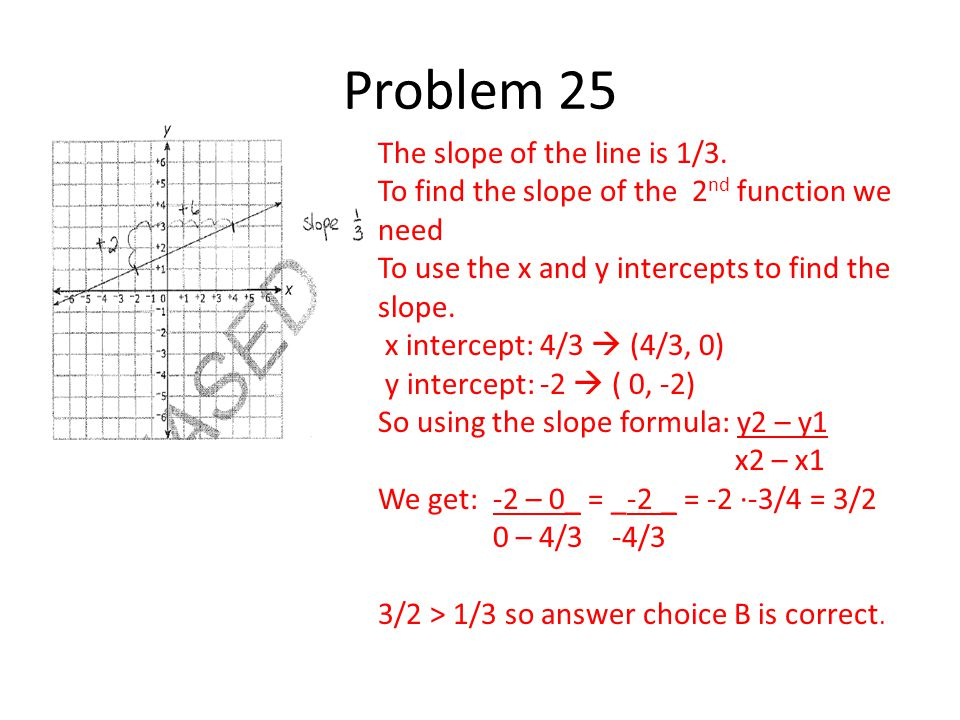 The slope of the line is 1/3. To find the slope of the 2 nd function we need To use the x and y intercepts to find the slope. x intercept: 4/3  (4/3,