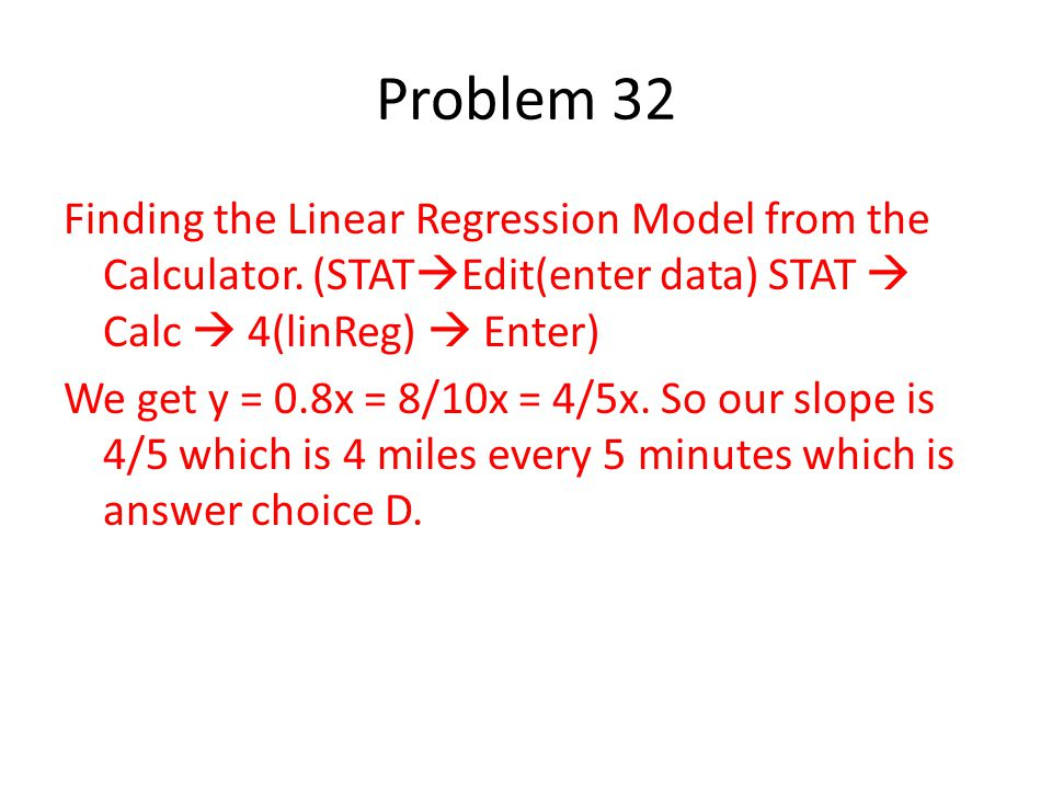 Finding the Linear Regression Model from the Calculator.