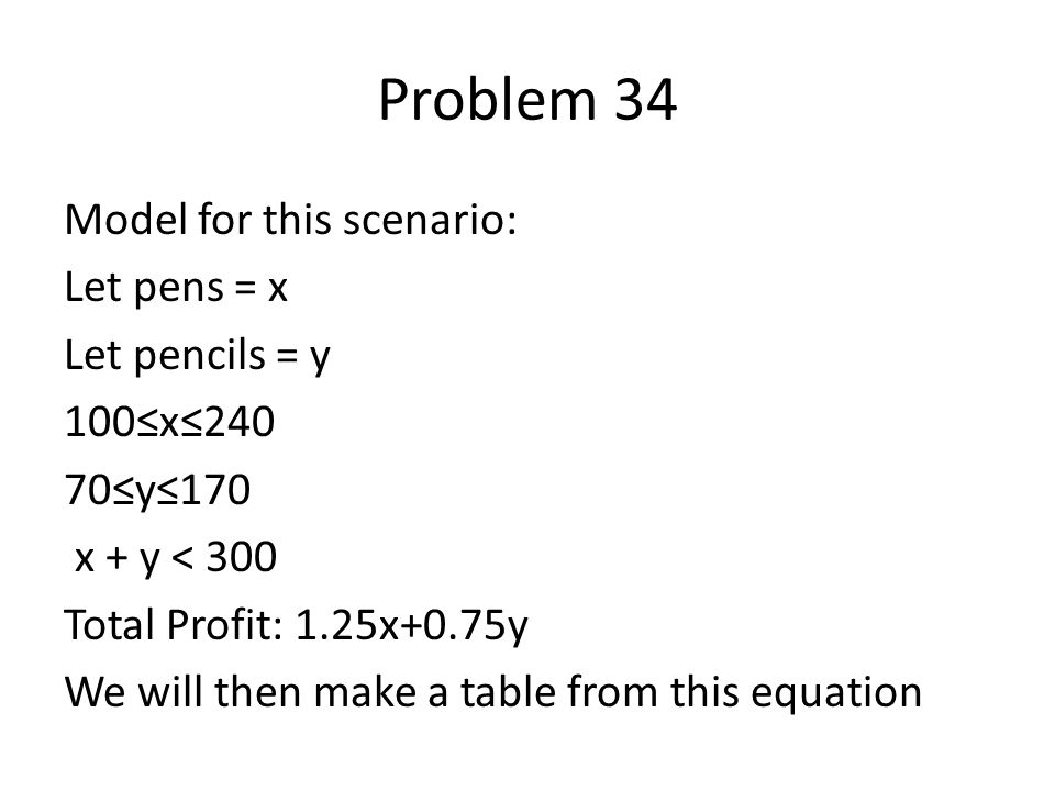 Model for this scenario: Let pens = x Let pencils = y 100≤x≤240 70≤y≤170 x + y < 300 Total Profit: 1.25x+0.75y We will then make a table from this equation