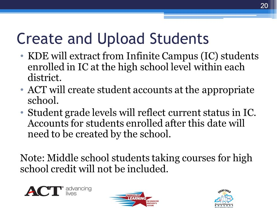 Responsibilities District or School Administrator: Conduct Administration Code and Inclusions Training Confirm Unit Usage per school Determine Paper or Computer Testing Estimate Number of Students Testing ACT will print the Confirmed Unit Usage per school.