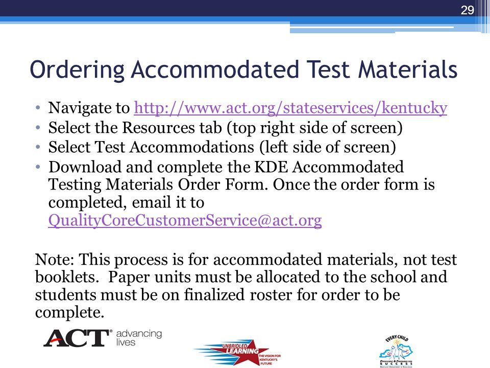 Accommodated Testing Paper OnlyPaper and Computer R = Reader A = Audio B = Braille LP = Large Print Scribe Extended Time Paraphrasing Manipulatives Pr