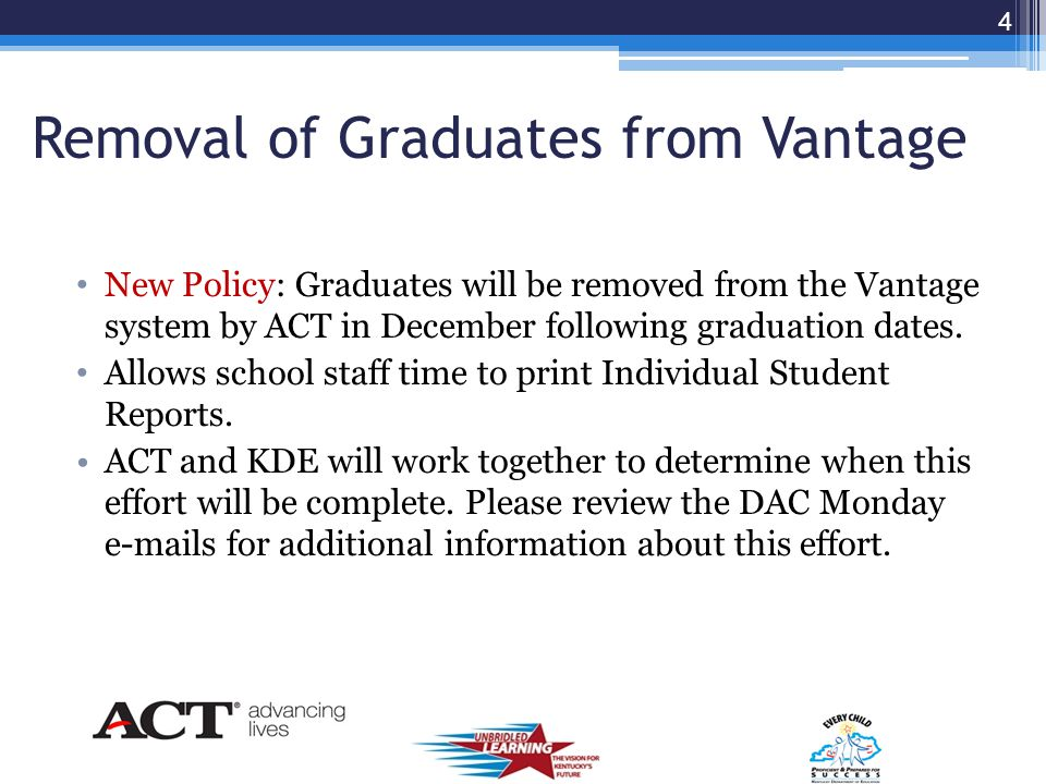 What's New Removal of graduates from Vantage (2012 and 2013) KDE/ACT upload/update of student accounts Inactivate duplicate student accounts Bulk Student Roster Upload Function Preparation for year three State Course Codes Online Stress Test 3
