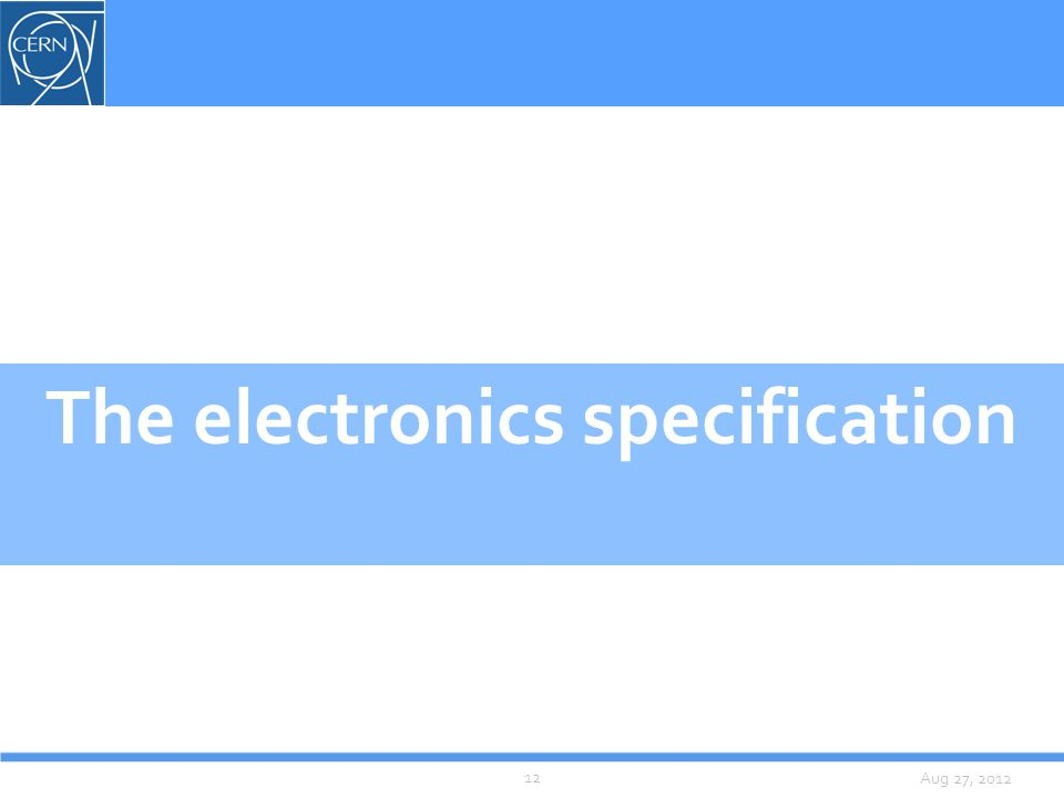 Aug 27, 2012 The electronics specification 12